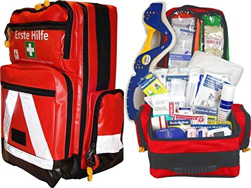 Erste Hilfe Notfallrucksack für Jugendgruppen u. Zeltlager - Plane mit weißen Reflexstreifen