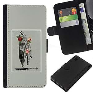 EJOY---Raccoglitore di vibrazione Custodia in pelle Premium Custodia protezione PU / Sony Xperia Z1 L39 / --Mano Uomo Primavera Deep Rose Significato