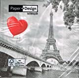 Servietten Paris Eifenturm rotes Luftballonherz schwarz rot medium image