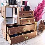 Ysy Kosmetische Aufbewahrungsbox Aus Holz 5 Schichten Schublade Aufbewahrungsbox Papiertuch Tischgestell Bequem,A