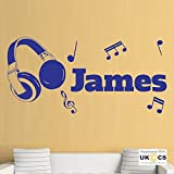 Die besten Startseite Kopfhörer - Musik Personalisieren Coole Kopfhörer Schlafzimmer-Wand-Kunst-Aufkleber-Abziehbilder Vinyl Startseite Schlafzimmer Bewertungen