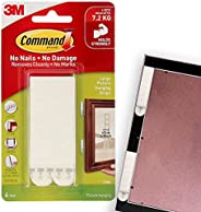 Command 17206-ES Picture and Frame Hanging Strips, Large, Holds 7.2 Kg. whole pack, white color. 4 pairs/pack,