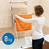 ArtMoon Louise Klapp- Wäschetrockner Wäscheständer Wäschespinne über der Badewanne mit 16 Hängestangen Stahl / Plastik Weiß 60X128 cm