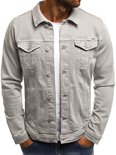 OZONEE MIX Herren Jeansjacke Übergangsjacke Jacke Denim Sweats Sweatjacke Frühlingsjacke Jeans Jacke B/5002X GRAU XL
