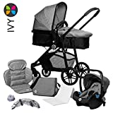 Kombikinderwagen 3 in 1, 10-teiliges Kinderwagen-Set: Alu-Gestell, 2 in 1 Wanne, Babyschale, Wannenabdeckung, Moskitonetz, Regenverdeck, Wickeltasche, Babyblume IVY, grey melange