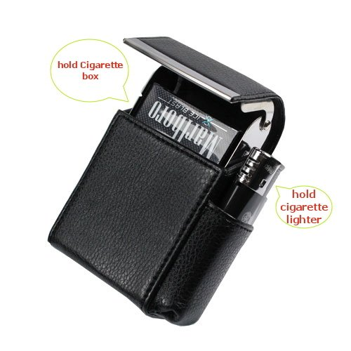 mStick Black Faux Leather Cigarette & Lighter Case Holder Black Color  available at amazon for Rs.299