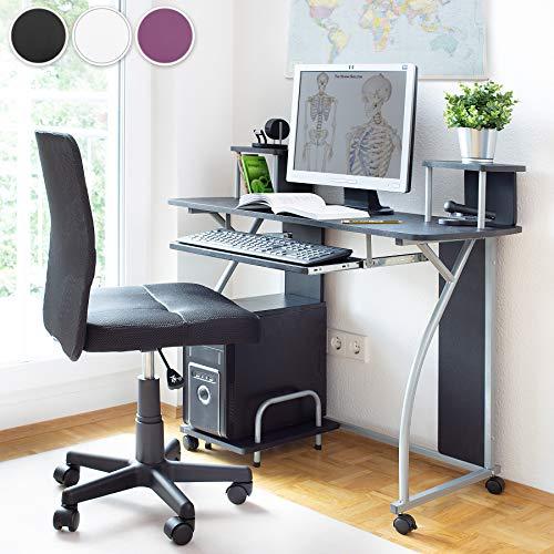 *TecTake Bureau Informatique Table de Travail – diverses couleurs au choix – (Noir | no. 401060) Prix