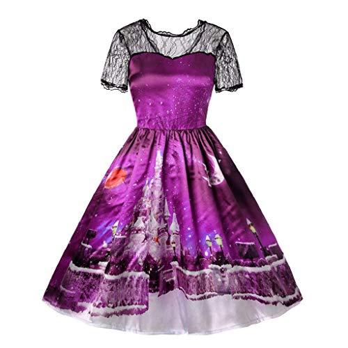 Luckycat Weihnachten Damen Kurzarm Spitze Patchwork Druck Vintage Kleid Partykleid Abendkleider Cocktailkleid Partykleider Blusenkleid Mode ()