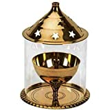 STREET CRAFT Small Akhand Diya Decorative Brass Oil Lamp Tea Light Diya Holder Lantern Pack Of 1