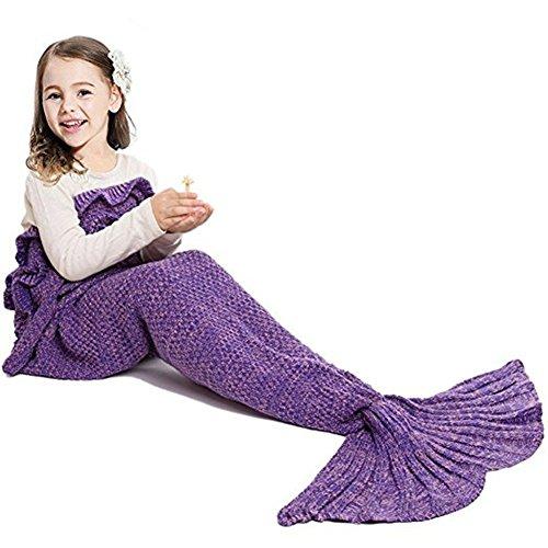 chen Häkeln Meerjungfrau Schwanz Decke Gestrickte Schlafsack , Kwock All Seasons Fischschwanz Decken Sofa Quilt Perfekt Geschenk 53.1