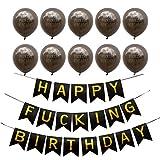 Aytai Schwarz und Gold Geburtstag Bunting, Happy F *** Ing Geburtstag Banner mit 10 Stück Happy F *** Ing Geburtstag Ballons für 18., 21. 30., 40., 50. Geburtstag Party Supplies
