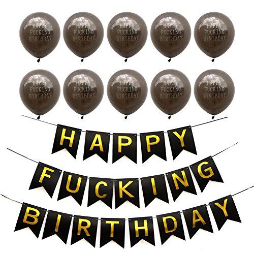 Aytai Geburtstag Dekoration Kit für Erwachsene - schwarz Happy Fing Geburtstag Bunting Banner + 10 Stück Happy Fing Geburtstag Ballons für den 21. 30. 40. 50. Meilenstein Geburtstag Party - Supplies 30. Party Geburtstag Kit