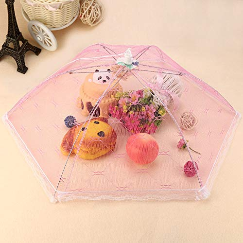 Food Cover - Food Cover Hexagon Umbrella Style Picnic Anti Fly Mosquito Net Tent Meal Barbecue Party Table Mesh - Aluminum Inside Extra Keep Covers Large Elastic Microwave Lids Umbrella O -