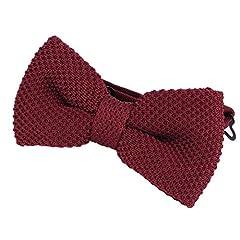 Idea Regalo - DonDon Papillon uomo fatto a maglia annodato e regolabile 11 x 6 cm rosso scuro