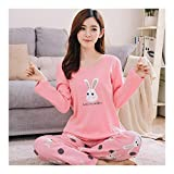HAOLIEQUAN Autumn Winter Women Pajamas 2-Piece Set Cartoon Rabbit Animal Pants Sleepwear Sleep Jacket Pant Sleepwear Warm Nightgown Female M-XXL,Baitutou Pink,XL