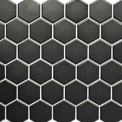k Hexagon schwarz matt für BODEN WAND BAD WC DUSCHE KÜCHE FLIESENSPIEGEL THEKENVERKLEIDUNG BADEWANNENVERKLEIDUNG Mosaikmatte Mosaikplatte ()