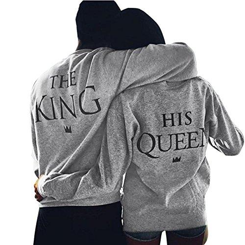 Minetom Mode King Queen Couples Pullover Damen Herren Liebespaar Rundhals Langarm Drucken Sweatshirt Tops Hochzeitstagsgeschenk Grau (Herren) DE 50 (V-neck Bio-baumwolle Hoodie)