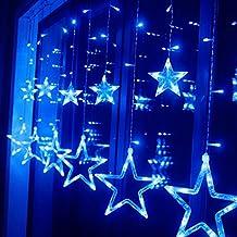 HAPPY ELEMENTS 2.5M Cortina 138 LED Tira Hilo de Luz de las estrellas de la ventana de luz para el banquete de boda de Navidad (Azul)