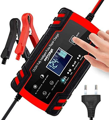 3T6B Batterie Ladegerät Autobatterie 12V/24V Intelligente Mehrfachautomatik, LED-Anzeige und Touchscreen-Taste, Autobatterieladegerät für Automobile, Motorräder, Geländefahrzeuge, Wohnmobile, Boote