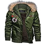 Kanpola Herren Jacke SAMT Übergangsjacke Outdoor Winter Verdickte Bomber Steppjacke Outdoorjacken Winterjacken Windbreaker Fleece Jacken Mantel mit Fellkapuze