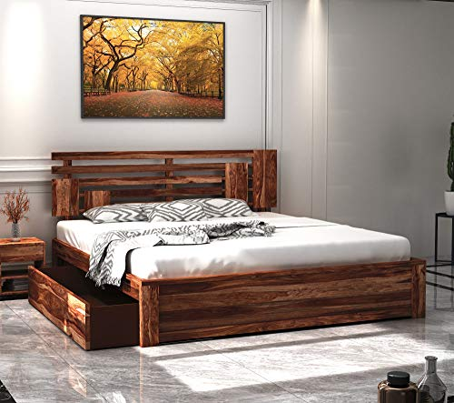 Home Edge Modern and Unqiue Contemporary Wooden Cot Aelinia Sheesham Wood Queen Size Beds with Storage Cabinet for Bedroom Hotels  Teak Finish   Matur