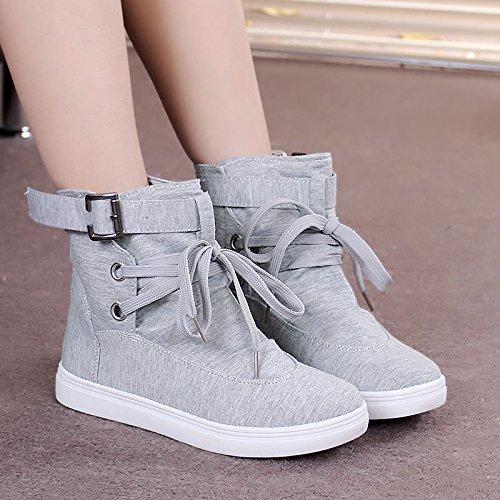 khskx-flat fondo scarpe da donna stile coreano versione di femmina breve stivali scarpa alta scarpe di tela testa rotonda con fondo piatto per il tempo libero, Forty Thirty-seven