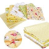 7Tressen Floral gesteppt Stoff Bündel gelb Set Baumwolle für Heimwerker zum Annähen Reinigungstuch 25cm x 25cm