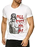 Red Bridge Hommes Shirt 2PAC All Eyez on me Tupac Shakur Motif T-Shirt Weiß S