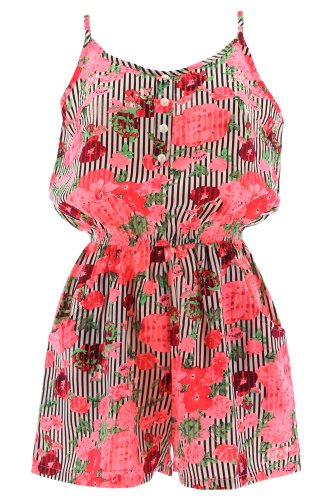 Cutie Playsuit STRIPED FLOWERS 3394 Pink