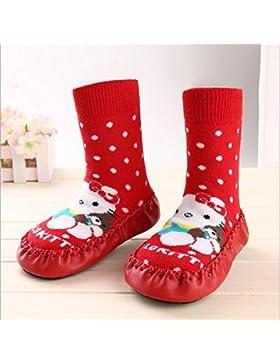 Calcetines tipo zapato antideslizantes Bebedou, transpirables, cálidos, con suela de piel suave de 9 cm, de 3...