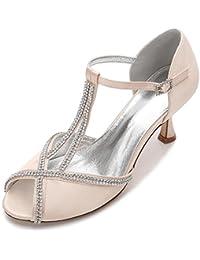 L@YC Zapatos de Boda de Las Mujeres E17061-11 Hebilla de Encaje de Diamantes de Encaje Peep Toe Verano Nupcial Prom