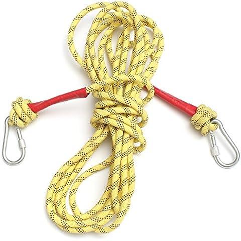 wishfive 10m Rock Mountain Poliestere Corda da arrampicata all' aperto sopravvivenza corda Paracord dinamico con due ganci in acciaio inox moschettone