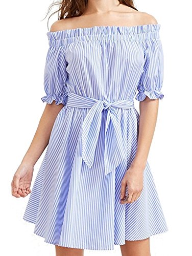 Elevesee Damen Vertikal Streifen Ärmel Mit Gürtel Kleid (Etikettgröße XL, Streifen) (Vertikale Kleider)