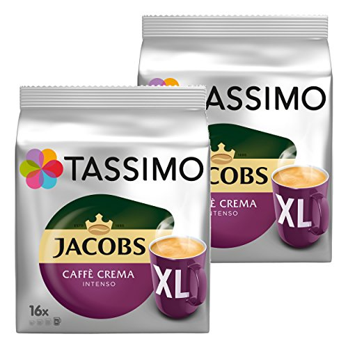 Tassimo Jacobs Caffè Crema Intenso XL, Kaffee Kapsel, Kaffeekapsel, gemahlener Röstkaffee, 32 T-Discs