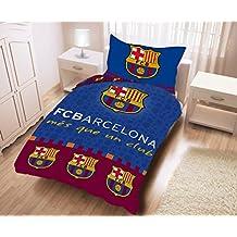 Juego de cama del FC Barcelona 140x 200cm–Funda de edredón + funda de almohada 100% algodón