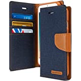 Delkart Original Canvas Book Style Flip Cover With In Built Card And Cash Holder For Oppo A37/ A37F (Blue)