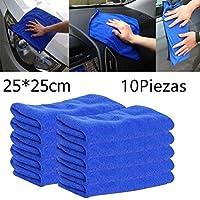 Kisshes 10PCS / Bolso Toalla de Microfibra de absorción de Agua Cuadrada no caída Toalla de Limpieza de Coche de Pelo Paños y toallitas para mopas 25x25cm (Azul)