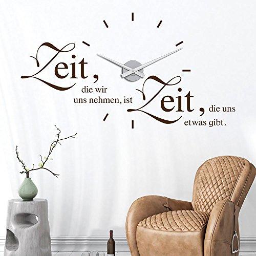 KLEBEHELD® Wandtattoo Uhr Zeit, die wir uns nehmen, ist Zeit, die uns etwas gibt.   Wanduhr mit Spruch   Größe 87x47cm (B x H)   Uhr silber  Umlauf 44cm, Farbe schwarz