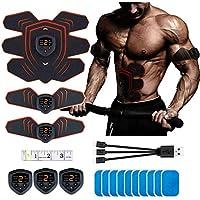 Electroestimulador Muscular Abdominales Cinturón Estimulador Muscular,EMS Electroestimulador,EMS Trainer USB Recargable EMS Ejercitador del Cuerpo de los Músculos de Brazos y piernas para Hombre Mujer