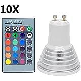 10X GU10 RGB Ampoule LED 3W Lampe LED Multicolore 16 Changement de couleur45 Angle de Faisceau AC85-265 avec Contrôle des à Distance