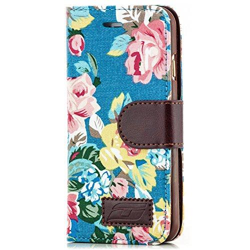 iPhone 6 / 6S Hülle Flip Tasche [Saxonia] Schutzhülle Case mit Kartenfach Motiv Blumen Blau Blau