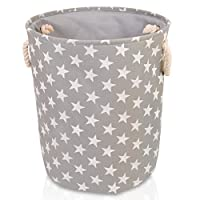 Grey Star Canvas Storage Basket - Large High Quality Fabric Basket with White stars - Perfect for Household Storage, Toys or Laundry. 40cms Diameter x 45cm Height