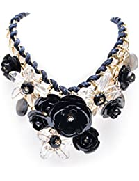 Regalie Black And White Rose Flower Necklace For Women And Girls- Your Desire Becomes Reality!