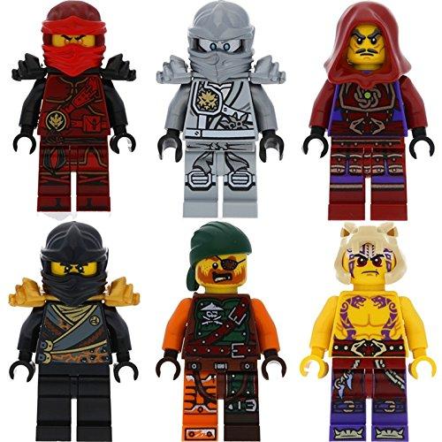 Conjunto de 6 figuras Lego Ninjago Ultimate 3: Kai Cole Zane Titanium Clouse Krait Bucko con 12 armas Galaxyarms