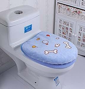 Motif os pour chien en microfibre tapis de WC Lot de 2Pièces de Salle de Bain pour abattant WC siège de toilette Housse de tissu de housse pour abattant de WC chaudes toilettes siège lavable en machine Fermeture Chiffon Doux pour couvercle souple et confortable et tendance et belle, Bleu
