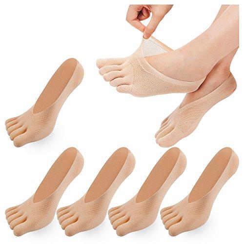 REKYO De Las Mujeres Del Dedo Del Pie De Cinco Dedos Calcetines Suave Y Transpirable Escotados Calcetines De Las Medias De Seda Para Las Niñas Mujeres (skin-5)