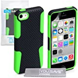 Yousave Accessories Tough Mesh Combo Silicone Cover Case for iPhone 5C - Black/Green