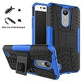 LiuShan LG K8 2017 Hülle, Dual Layer Hybrid Handyhülle Drop Resistance Handys Schutz Hülle mit Ständer für LG Aristo / LV3 / MS210 / K8 2017 Smartphone (mit 4in1 Geschenk verpackt),Blau
