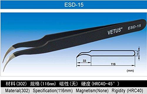 5 pcs/lot antistatique BGA Pince à épiler ancienne ESD pince à épiler Esd-15