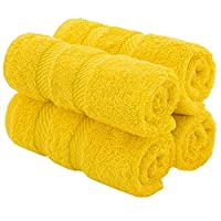 American Soft Linen Premium Turkish Genuine Cotton, Luxury Hotel Quality for Maximum Softness & Absorbency for Face, Hand, Kitchen & Cleaning (4-Piece Washcloth Set, Yellow)